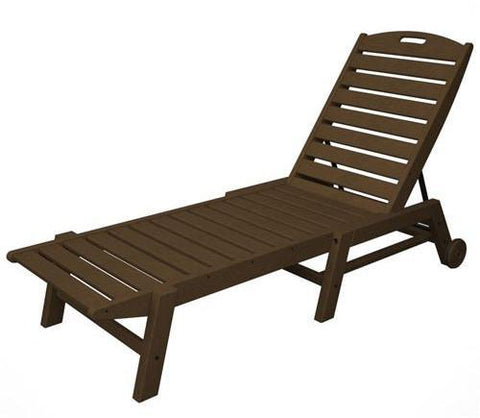 Polywood NAW2280TE Nautical Wheeled Chaise - Stackable Teak Finish - PolyFurnitureStore