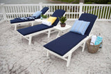 Polywood NAW2280WH Nautical Wheeled Chaise - Stackable White Finish - PolyFurnitureStore - 5