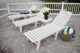 Polywood NAW2280WH Nautical Wheeled Chaise - Stackable White Finish - PolyFurnitureStore - 6