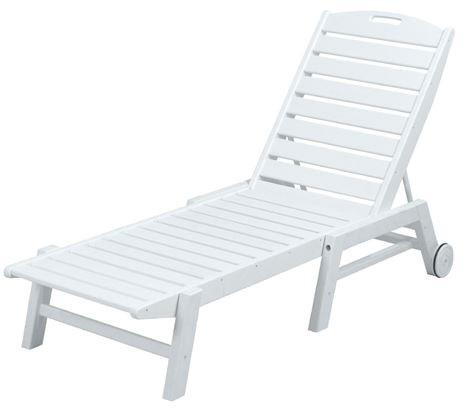 Polywood NAW2280WH Nautical Wheeled Chaise - Stackable White Finish - PolyFurnitureStore - 1