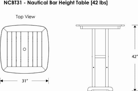 "Polywood NCBT31GY Nautical 31"" Bar Table Slate Grey Finish - PolyFurnitureStore - 3"