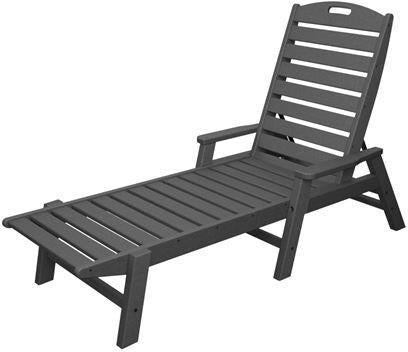 Polywood NCC2280GY Nautical Chaise with Arms - Stackable Slate Grey Finish - PolyFurnitureStore - 1