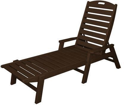 Polywood NCC2280MA Nautical Chaise with Arms - Stackable Mahogany Finish - PolyFurnitureStore - 1