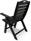 Polywood NCH38BL Nautical Highback Chair Black Finish - PolyFurnitureStore - 3