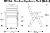 Polywood NCH38BL Nautical Highback Chair Black Finish - PolyFurnitureStore - 5