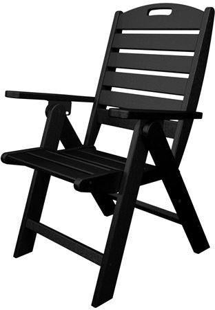 Polywood NCH38BL Nautical Highback Chair Black Finish - PolyFurnitureStore - 1