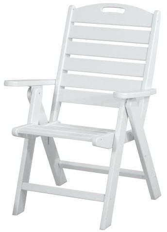 Polywood NCH38WH Nautical Highback Chair White Finish - PolyFurnitureStore - 1