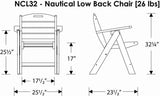 Polywood NCL32WH Nautical Lowback Chair White Finish - PolyFurnitureStore - 6
