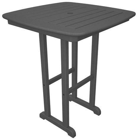 "Polywood NCRT31GY Nautical 31"" Counter Table Slate Grey Finish - PolyFurnitureStore"