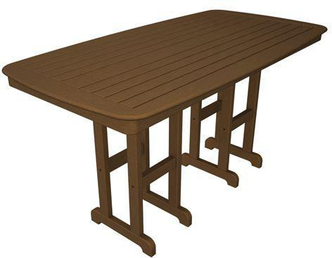 "Polywood NCRT3772TE Nautical 37"" x 72"" Counter Table Teak Finish - PolyFurnitureStore"