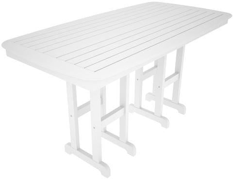 "Polywood NCRT3772WH Nautical 37"" x 72"" Counter Table White Finish - PolyFurnitureStore"
