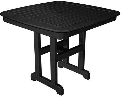 "Polywood NCT37BL Nautical 37"" Dining Table Black Finish - PolyFurnitureStore - 1"