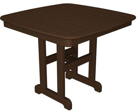 "Polywood NCT37MA Nautical 37"" Dining Table Mahogany Finish - PolyFurnitureStore - 1"