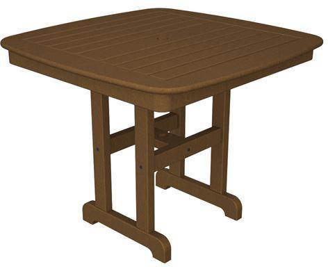 "Polywood NCT37TE Nautical 37"" Dining Table Teak Finish - PolyFurnitureStore - 1"