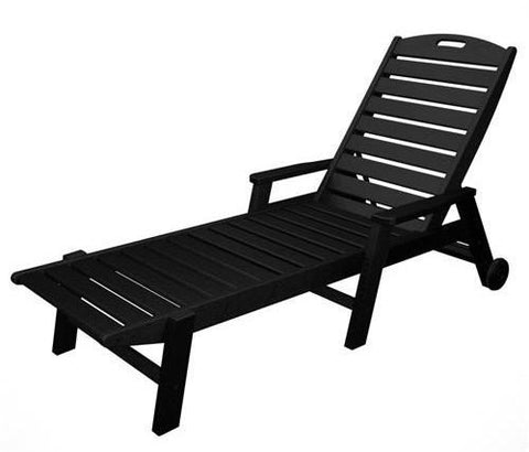 Polywood NCW2280BL Nautical Wheeled Chaise with Arms - Stackable Black Finish - PolyFurnitureStore
