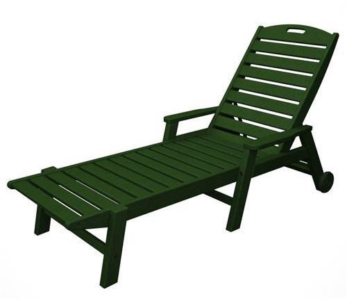 Wheeled Chaise Arms Stackable Green Nautical 3683 Product Photo