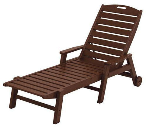 Polywood NCW2280MA Nautical Wheeled Chaise with Arms - Stackable Mahogany Finish - PolyFurnitureStore - 1