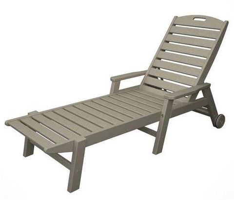 Polywood NCW2280SA Nautical Wheeled Chaise with Arms - Stackable Sand Finish - PolyFurnitureStore