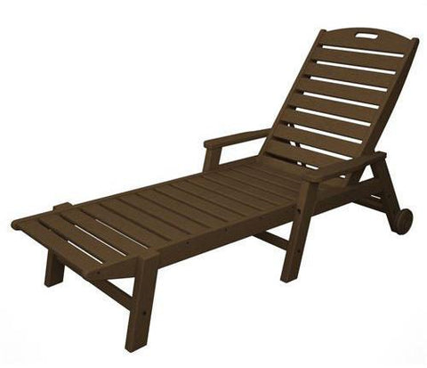 Polywood NCW2280TE Nautical Wheeled Chaise with Arms - Stackable Teak Finish - PolyFurnitureStore