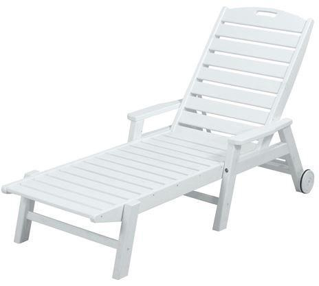 Polywood Wheeled Chaise Arms Stackable White Nautical