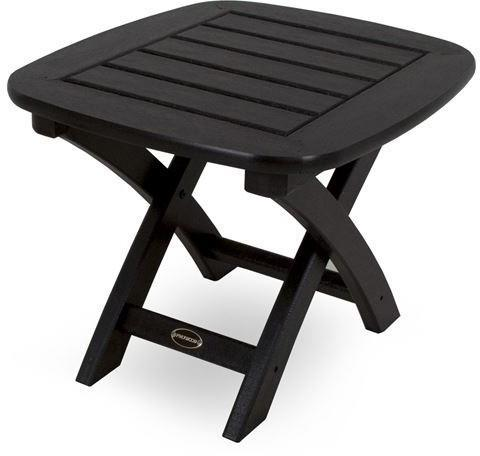 "Polywood NSTBL Nautical 21"" x 18"" Side Table Black Finish - PolyFurnitureStore - 1"