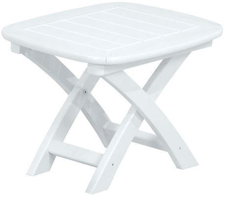 "Polywood NSTWH Nautical 21"" x 18"" Side Table White Finish - PolyFurnitureStore - 1"