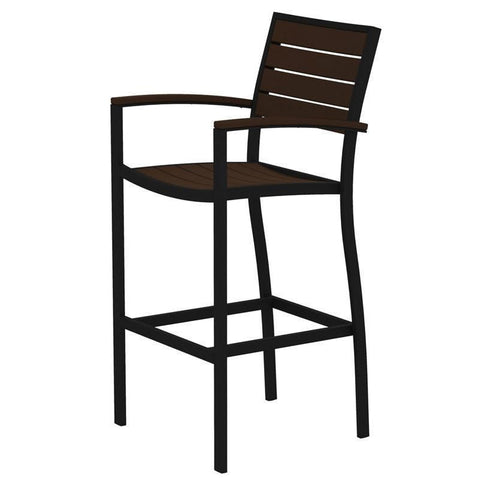 Polywood A202FABMA Euro Bar Arm Chair in Textured Black Aluminum Frame / Mahogany