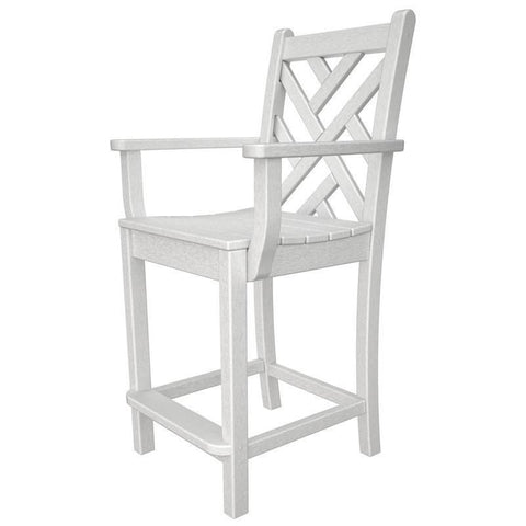 Polywood CDD201WH Chippendale Counter Arm Chair in White
