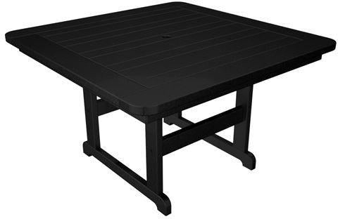 "Polywood PST48BL Park 48"" Square Table Black Finish - PolyFurnitureStore - 1"