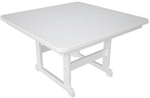 "Polywood PST48WH Park 48"" Square Table White Finish - PolyFurnitureStore - 1"