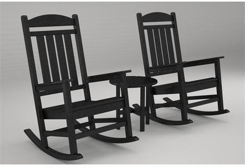 Polywood PWS109-1-BL Presidential 3-Pc. Rocker Set Black Finish - PolyFurnitureStore