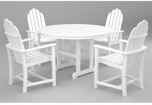 Polywood Adirondack Dining Pc Set White Classic