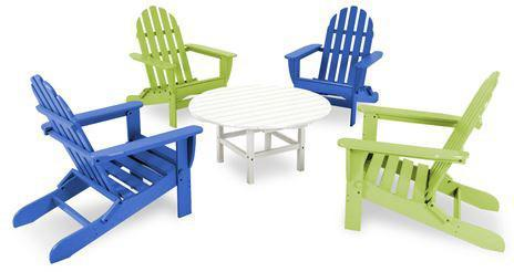 Polywood PWS119-1-PBLI Classic Folding Adirondack 5-Piece Conversation Group Pacific Blue / Lime Finish - PolyFurnitureStore