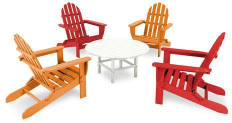 Polywood PWS119-1-SRTA Classic Folding Adirondack 5-Piece Conversation Group Sunset Red / Tangerine Finish - PolyFurnitureStore