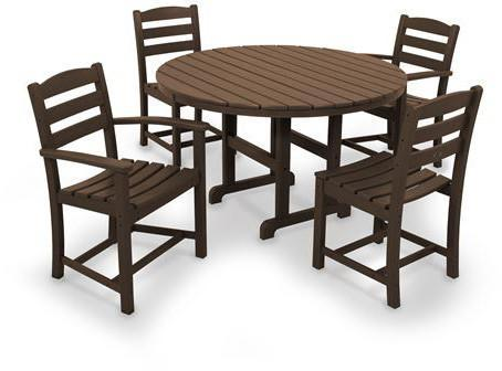 Polywood PWS171-1-MA La Casa Café 5-Piece Dining Set Mahogany Finish - PolyFurnitureStore