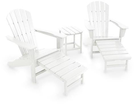 Polywood PWS173-1-WH South Beach Ultimate Adirondack 3-Piece Set White Finish - PolyFurnitureStore