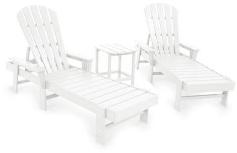 Polywood PWS178-1-WH South Beach Chaise 3-Piece Set White Finish - PolyFurnitureStore