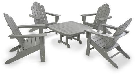 Polywood Island Adirondack Conversation Group Slate Grey 2477