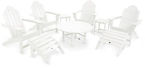 Polywood PWS181-1-WH Long Island Adirondack 9-Piece Conversation Group White Finish - PolyFurnitureStore