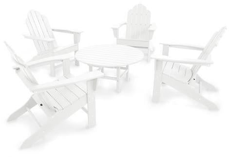 Polywood Island Adirondack Conversation Group White Long