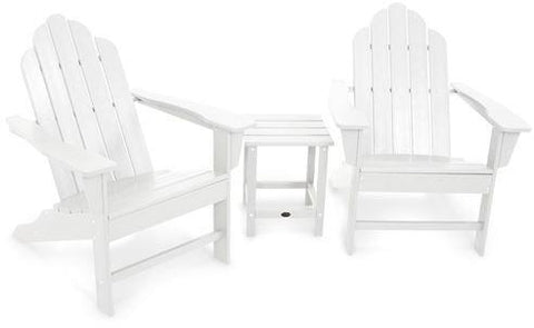 Polywood PWS183-1-WH Long Island Adirondack 3-Piece Set White Finish - PolyFurnitureStore