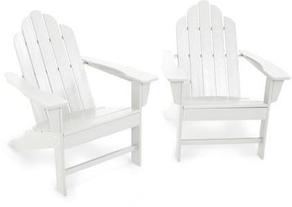 Polywood PWS185-1-WH Long Island Adirondack 2-Piece Set White Finish - PolyFurnitureStore