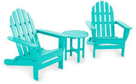 Polywood PWS214-1-AR Classic Folding Adirondack 3-Piece Set Aruba Finish - PolyFurnitureStore