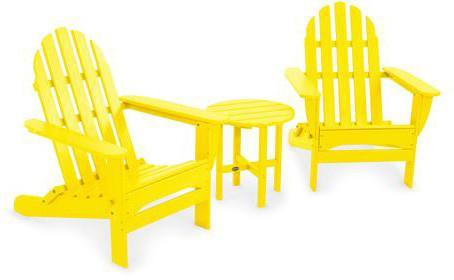 Polywood PWS214-1-LE Classic Folding Adirondack 3-Piece Set Lemon Finish - PolyFurnitureStore
