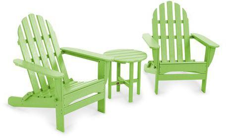 Polywood PWS214-1-LI Classic Folding Adirondack 3-Piece Set Lime Finish - PolyFurnitureStore
