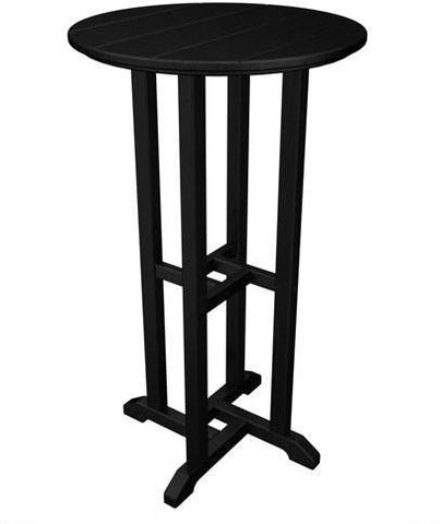 "Polywood RBT124BL Traditional 24"" Round Bar Table Black Finish - PolyFurnitureStore - 1"