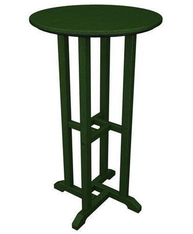 "Polywood RBT124GR Traditional 24"" Round Bar Table Green Finish - PolyFurnitureStore - 1"