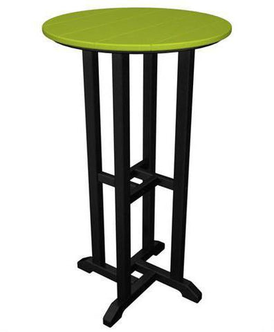 "Polywood RBT224FBLLI Contempo 24"" Round Bar Table Black Frame / Lime Finish - PolyFurnitureStore - 1"