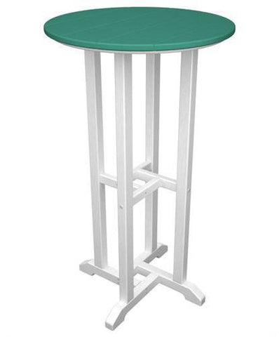 "Polywood RBT224FWHAR Contempo 24"" Round Bar Table White Frame / Aruba Finish - PolyFurnitureStore - 1"