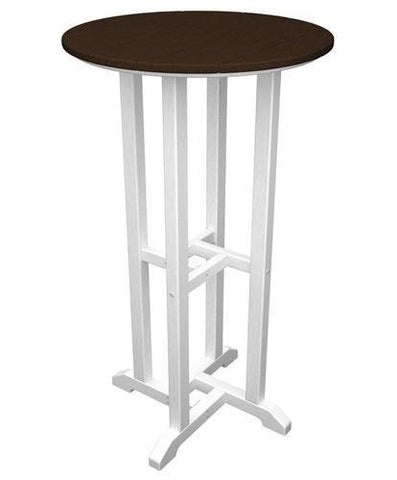 "Polywood RBT224FWHMA Contempo 24"" Round Bar Table White Frame / Mahogany Finish - PolyFurnitureStore - 1"